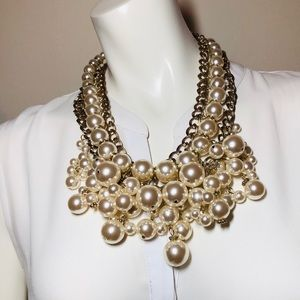 CHICO'S Pearl and Gold Chain Link Bib Statement